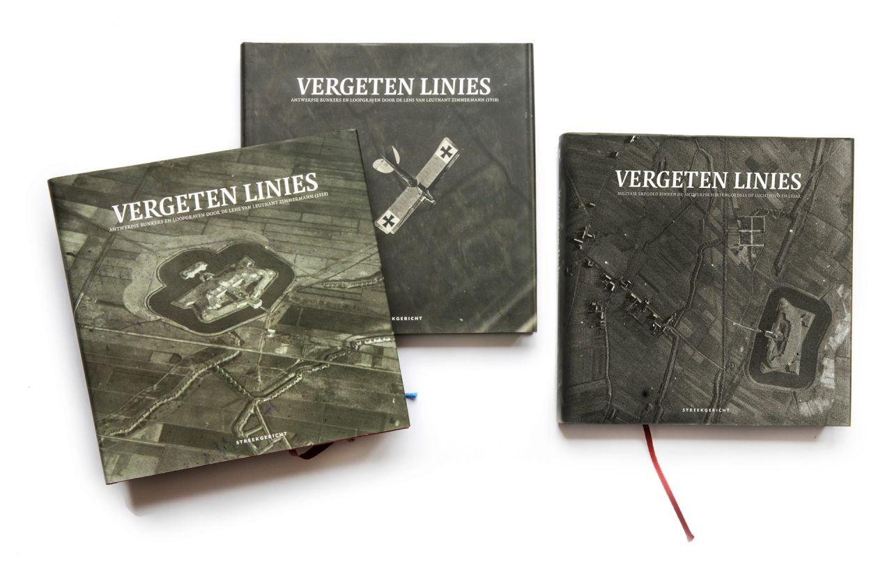 De drie boeken uit de reeks Vergeten Linies